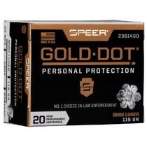 Náboj Speer 9 Luger Gold Dot 7,5 g / 115 grs